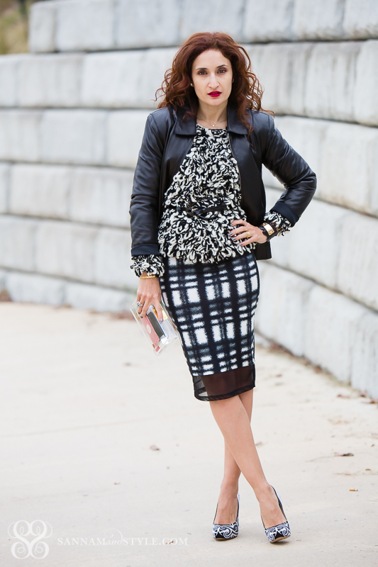 chic uptown outfit; mixing patterns and textures; asos check skirt