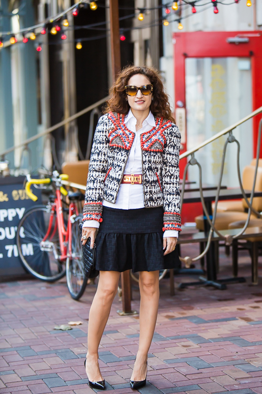 isabel marant jacket, beaded jacket, vintage hermes medor belt, chanel quilted clutch