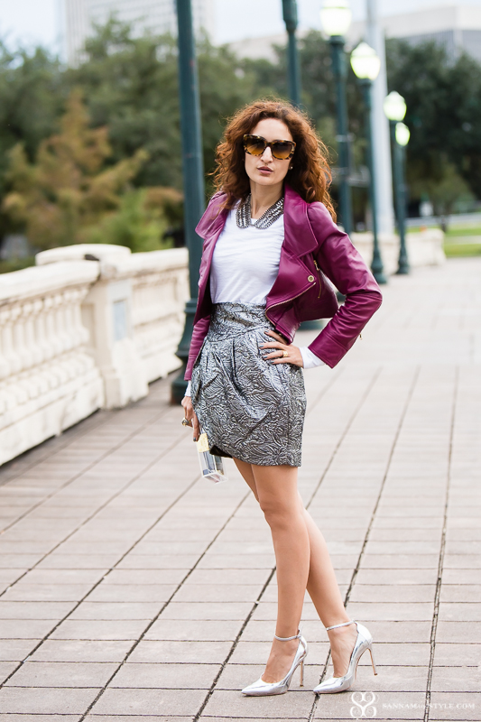 isabel marant pour h&m skirt, red valentino moto jacket; rasberry moto jacket; manolo blahnik bb silver shoes