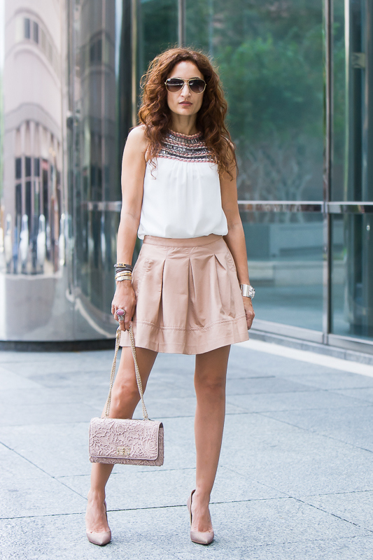 Feminine Chic – Forever 21 Skirt & Zara Embroidered Top Sannam and ...