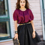 Black Swan – Burgundy Silk Top, Black Tulle Skirt & Gold Accents