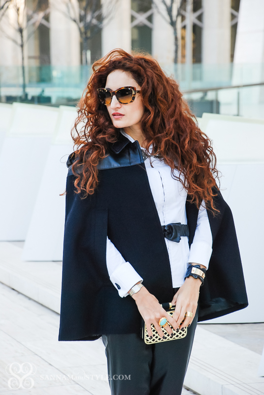 burberry cape, black jogging pants, hm clutch, miu miu sunnies, casual date night outfit