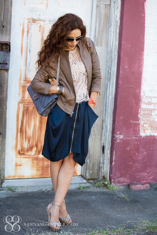 layered fall outfit, chic layers, date night, draped skirt restyled, bomber jacket