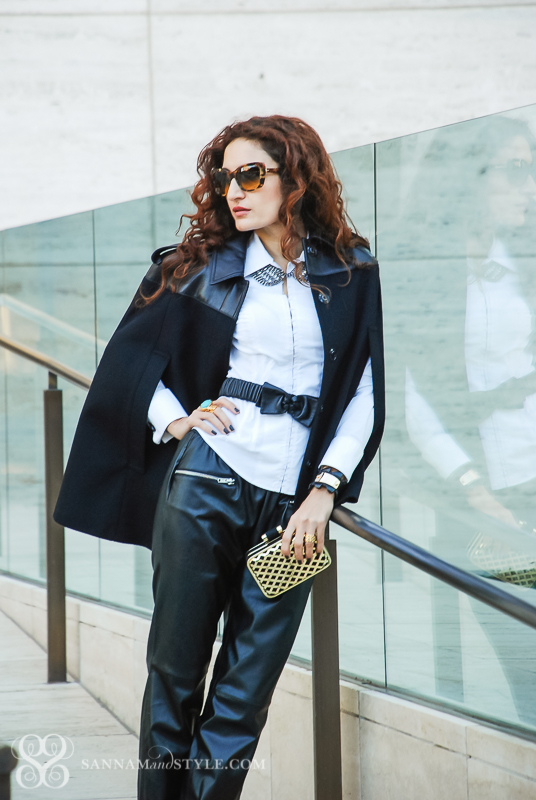 date night outfit, black and white outfit restyled, black jogging pants, faux leather pants