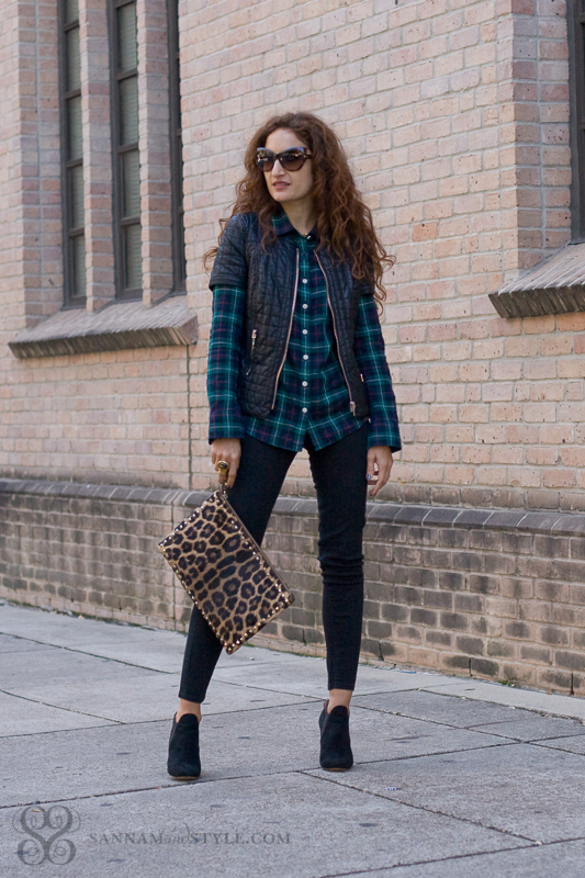 Plaid street style, casual chic mix, date night outfit, mixing prints