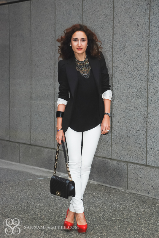 faux leather leggings, black and white style, chic date nigh outfit, girls night out outfit