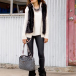 Total Gray Out – Fur Vest, Skinnies & Booties