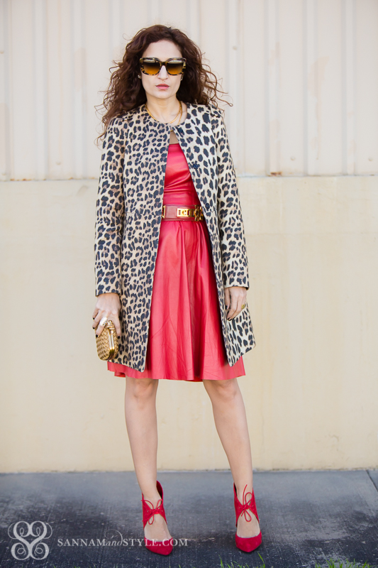 valentines day outfit, red leather street style, leopard coat styled, red leather and leopard combined