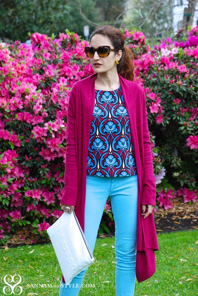 fuchsia and baby blue, casual ootd, chic outfit, brunch outfit, cheeky clutch