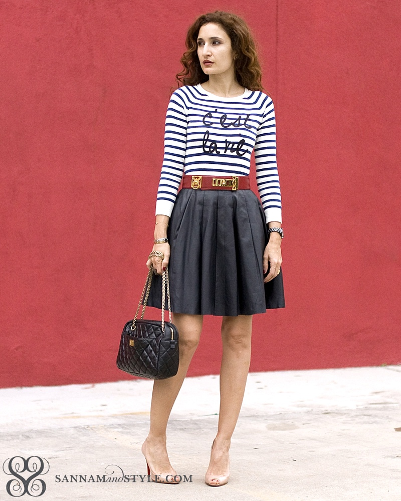 forever 21 sweater, leather pleated skirt, red white and blue outfit, vintage hermes belt, chic french girl outfit