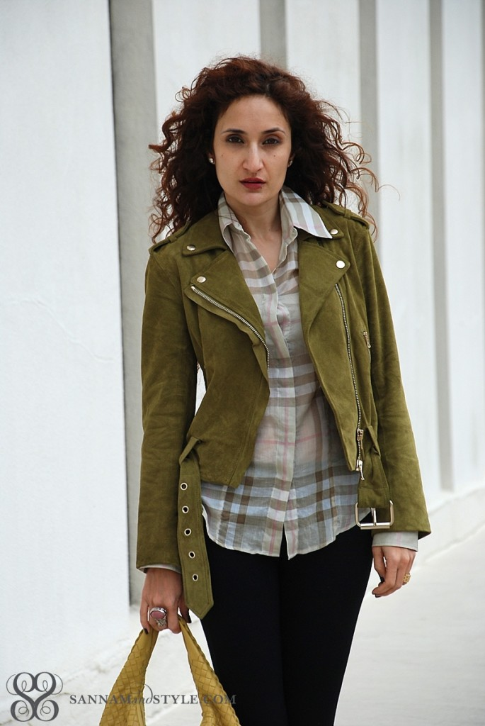 spring moto jacket, burberry check, chic casual ootd, street style moto, spring transition outfit