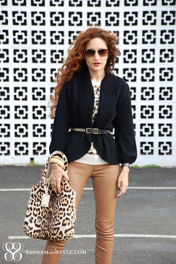 leather pants, chic style, leopard bag, spring transition, street style, casual