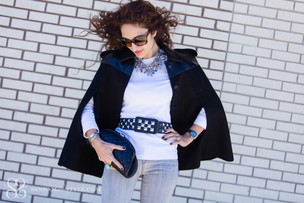 studded belt, SATC accessories, carrie bradshaw belt, burberry cape