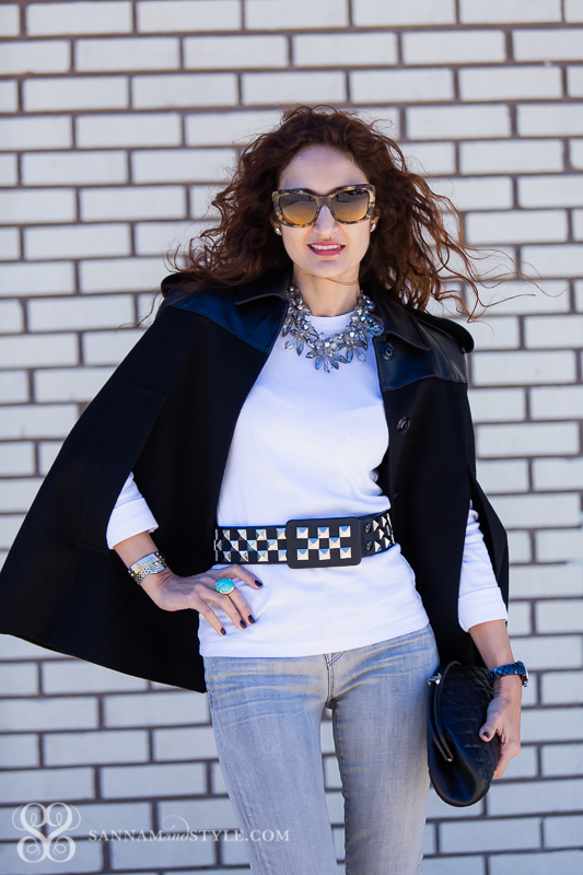 studded belt, black white and gray outfit, casual downtown chic outfit, jeans street style