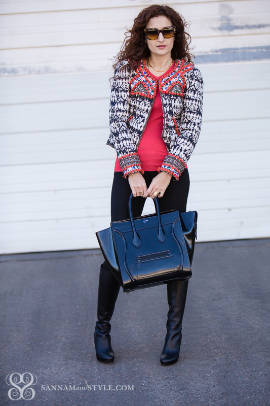 chic black and coral outfit, downtown chic, tall boots, layered outfit, chic detailed outfit, celine luggage tote