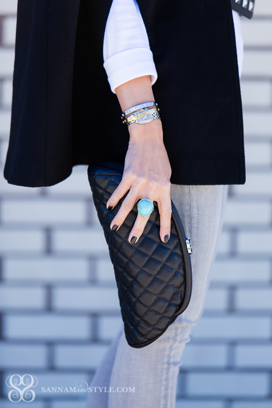 fabulous accessories, chanel clutch, quilted clutch, turquoise ring, catire bracelets, love bracelet