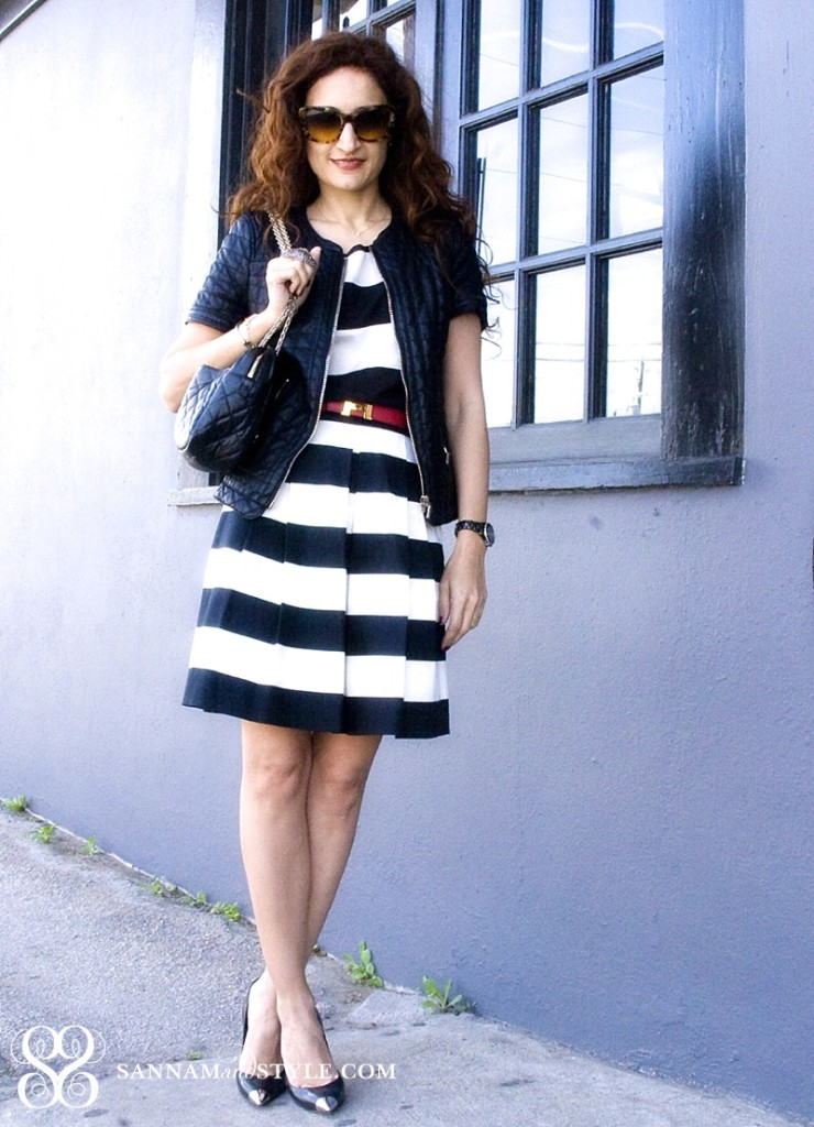black and white trend street style, forever 21 top, vintage hermes belt, casual chic style