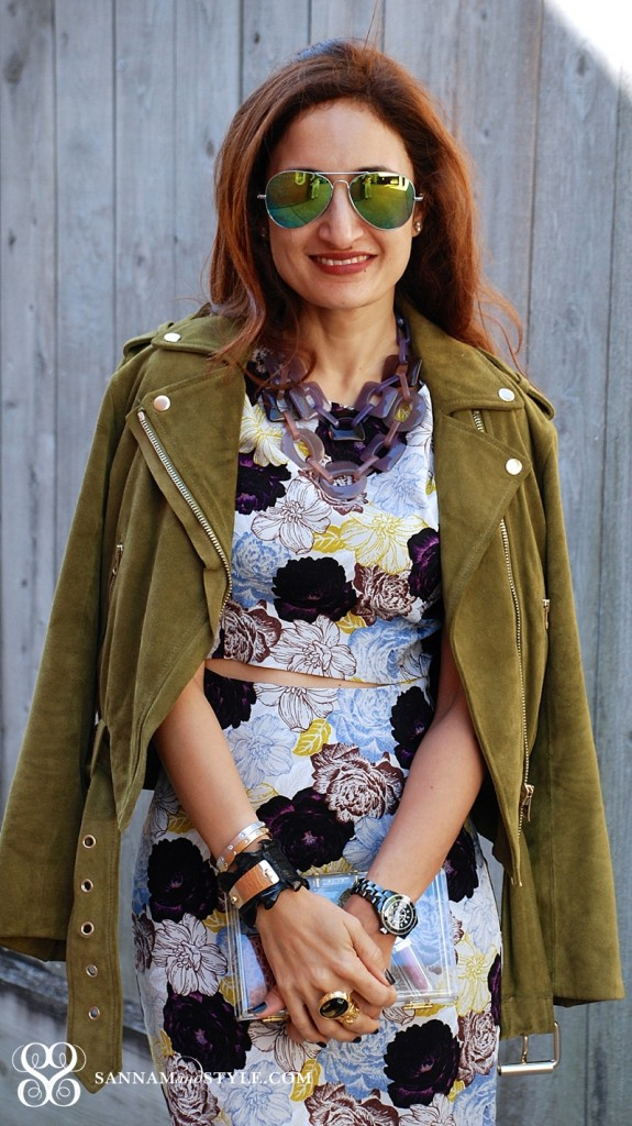 Floral trend how to wear moto for spring green suede moto jacket feminine masculine mix uptown chic downtown cool outfit