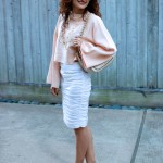 First Heat Wave – Shirred White Pencil Skirt & Crop Top
