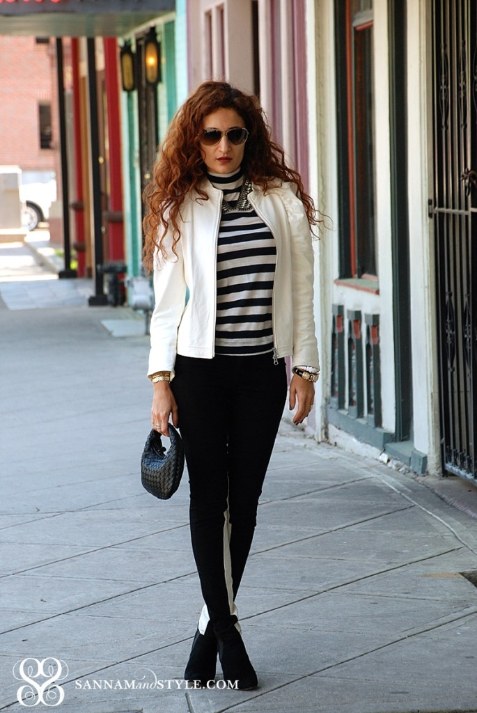 street style black and white trend how to wear stripes leather jacket transition for spring