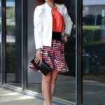 Spring Florals – Printed BR Skirt, White Leather Jacket & Animal Jewerly