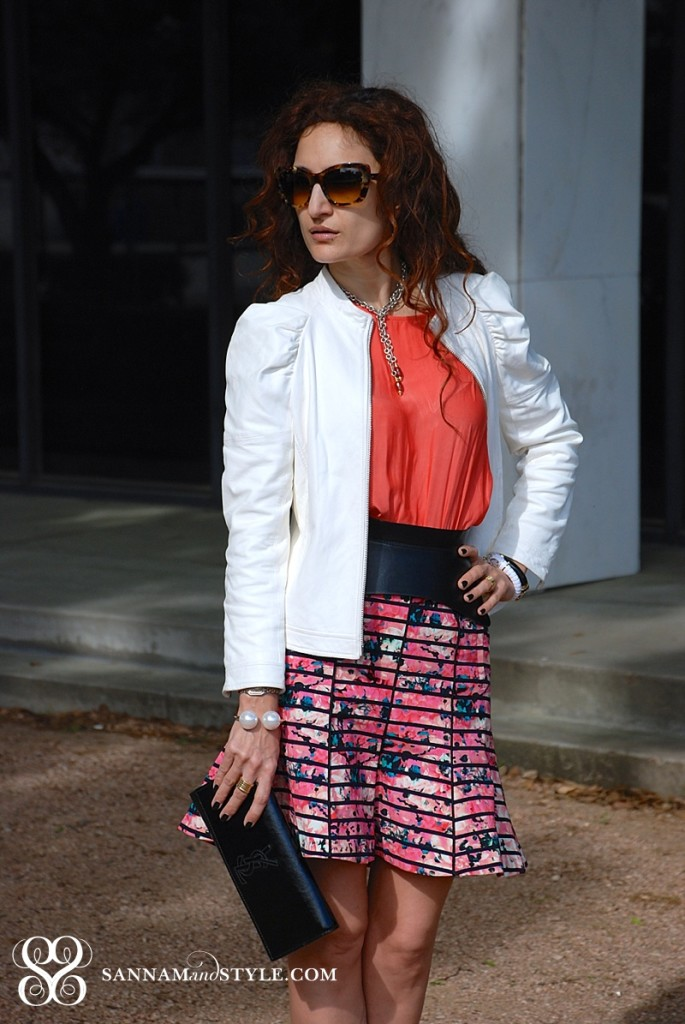 true style banana republic floral skirt floral trend for spring how to wear floral print trend how to style bomber leather jacket for spring