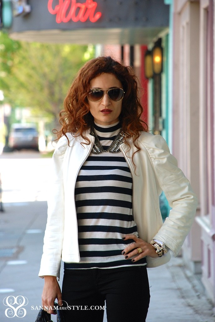 chic trends street style stripes how to wear black and white for spring leather jacket leather bomber