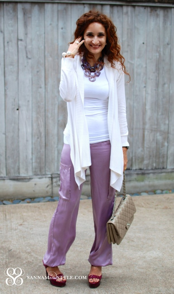 pajama dressing casual chic outfit street style lounge wear comfy clothes what to wear when lounging purple silk pajama pants styled chanel taupe classic 2.55