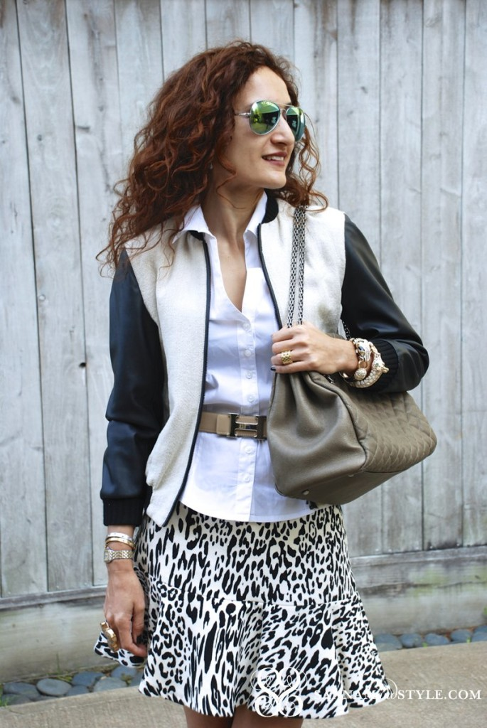 leopard skater skirt vintage hermes belt skater skirt street style varsity jacket jacket with leather sleeves chanel mademoiselle bag fashion blogger houston blogger date night outfit