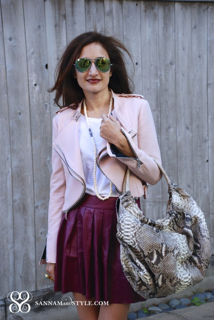 zara blush pink moto jacket alice and olivia pleated fuchsia leather skirt mirrored aviators presmer python hobo bag casual chic street style radiant orchid how to incorporate radiant orchid into your wardrobe