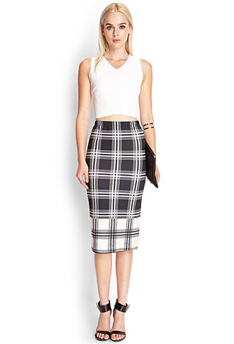 tartan print midi skirt forever21 plaid skirt black and white trend street style fashion blogger picks