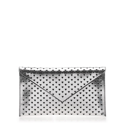 J.crew metallic clutch perforated clutch heart perforated clutch metallic silver clutch fun purse chic accessories