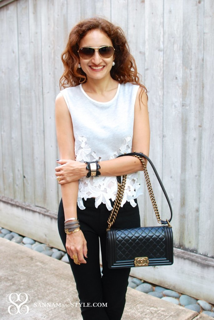 chanel bag street style crop top gap skinnies travel style casual street style fashion blogger taylor and tessier cuff