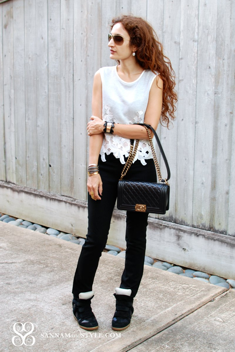 Casual Travel Style Isabel Marant Wedge Sneakers And Crop Top | Sannam And Style