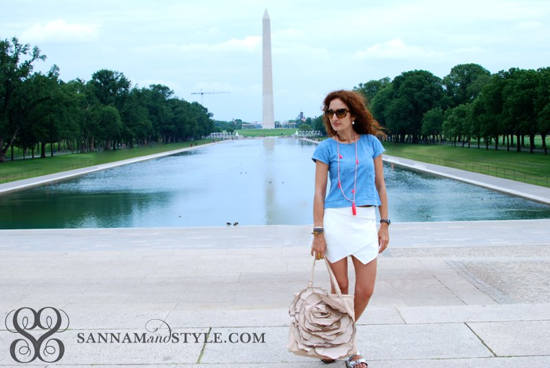 travel outfit casual chic sightseeing outfit GAP chambray top zara skirt silver birkenstocks valentino rose petal bag blush pink tote chic street style top houston fashion blogger DC fashion blogger street style fashion blogger