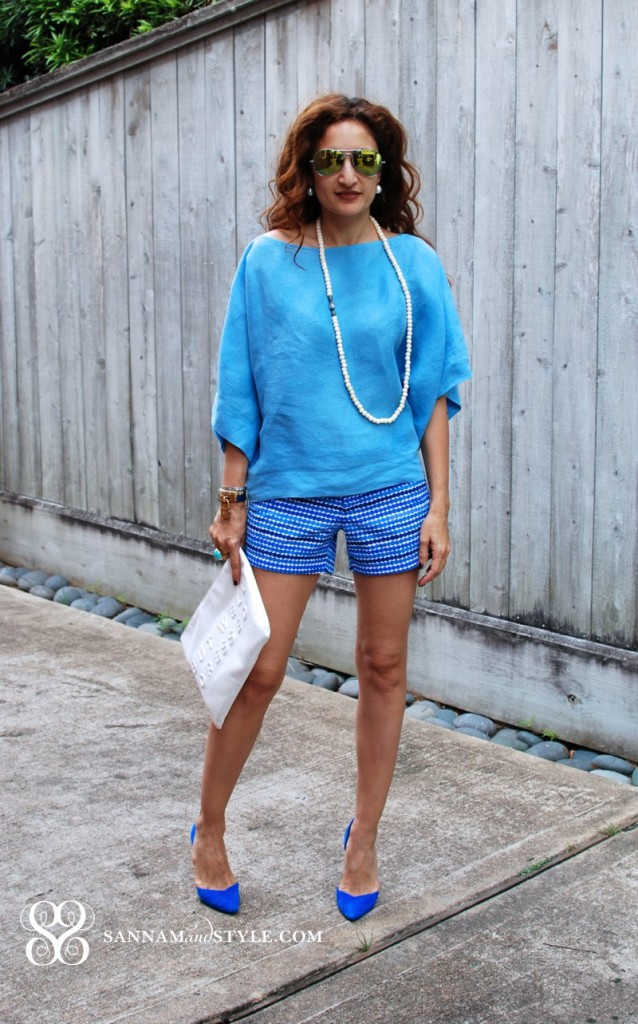 casual chic outfit marimekko blue dot shorts banana republic marimekko collaboration chic casual shorts fashion blogger street style linen crop top dressy shorts