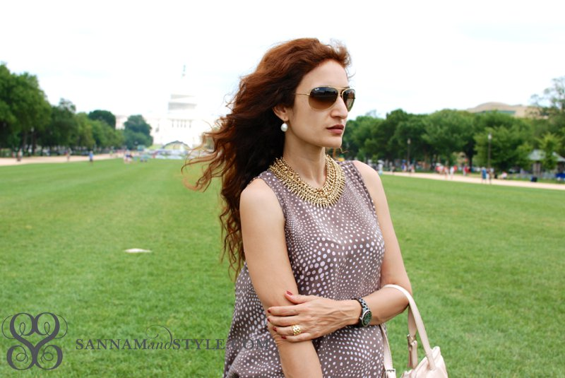 piamita pp=iris dress, polka dot chic dress, zara gold necklace, hermes hopi bracelet, chic casual style, dc fashion blogger, houston fashion blogger, houston stylist, ray ban aviators,