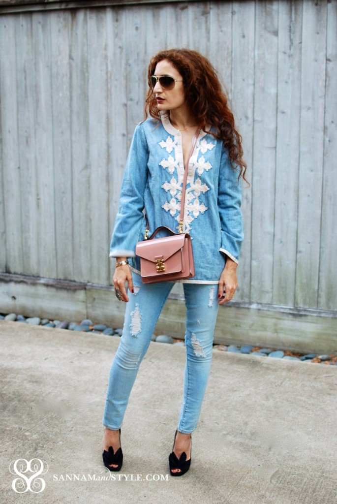 j crew denim shirt denim on denim chic casual chic style distressed denim street style