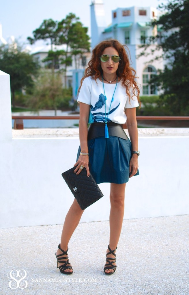 j crew crab shirt forever 21 teal rather skirt bcbg corset belt chanel quilted bag timeless style chic street style date night outfit