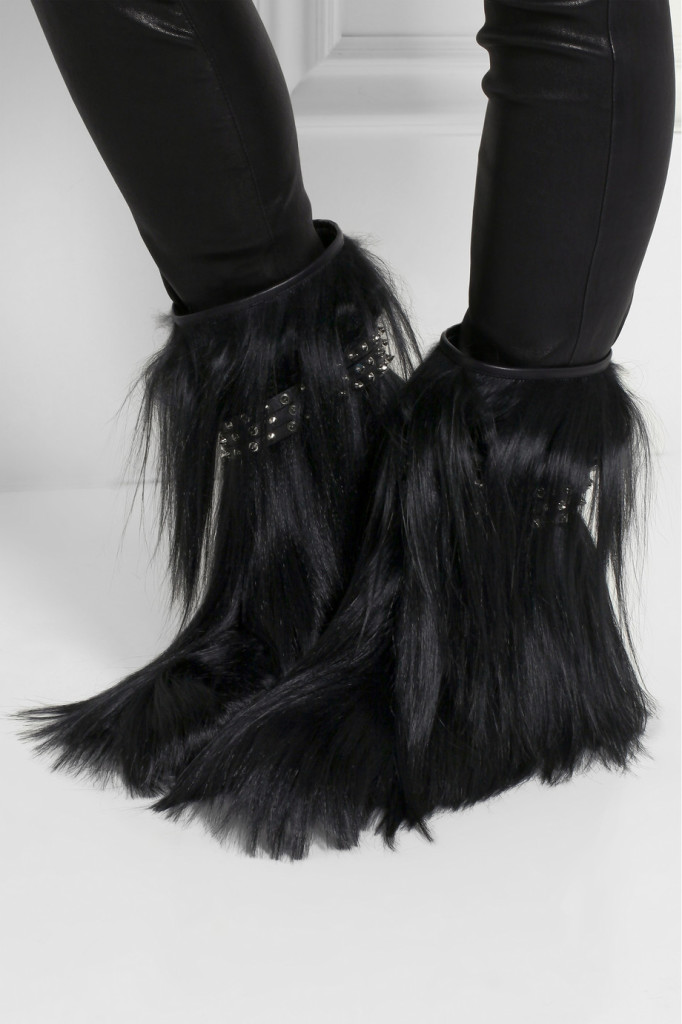 #tuesdayshoesday hairy shoes goat hair ankle boots crazy shoes