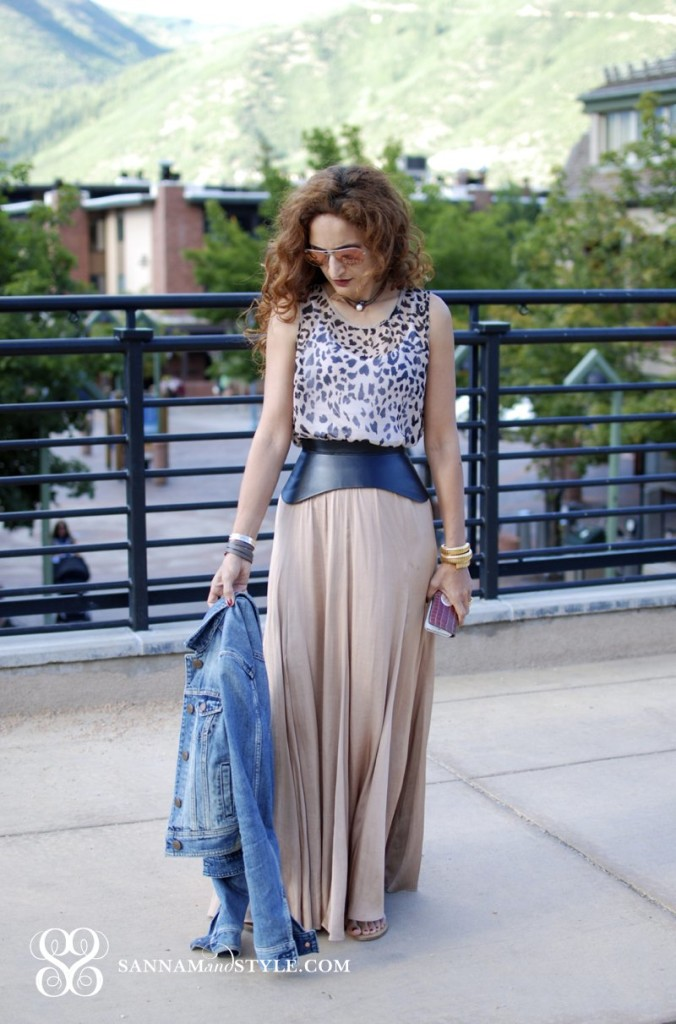 american eagle denim jacket zara maxi skirt bcbg corset belt forever 21 leopard top ray ban pink mirrored aviators casual chic outfit feminine outfit maxi skirt styled
