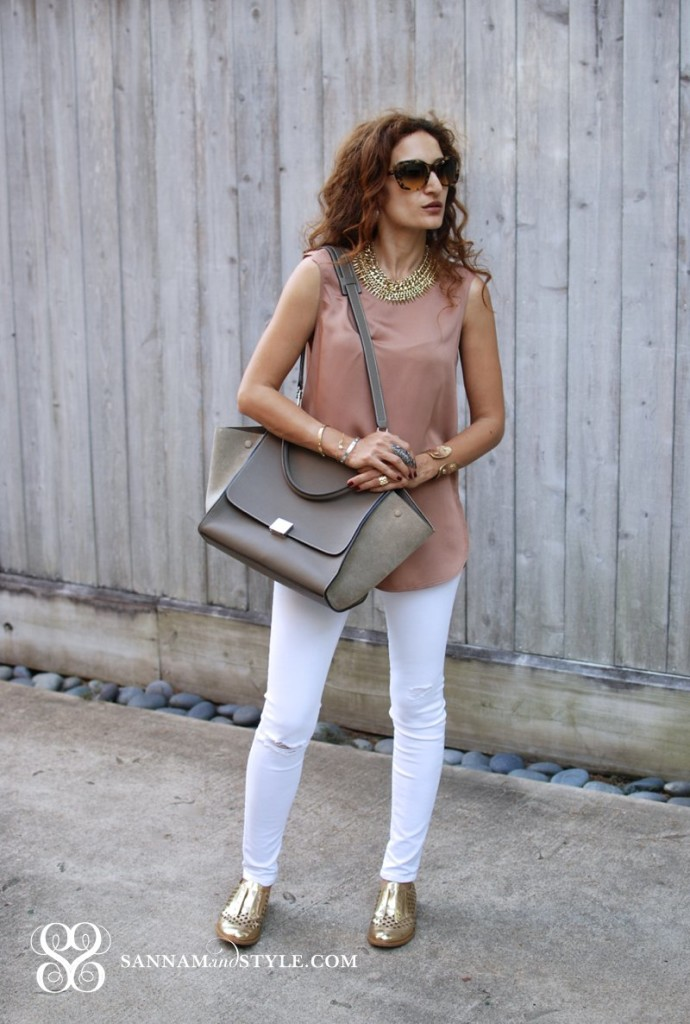 celine taupe trapeze bag suede bag neutral bag celine parisian chic fashion blohher houston blogger casual chic neutral outfit timeless white jeans styled