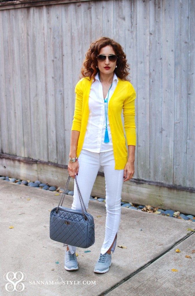 chanel camera bag chic casual style houston fashion blogger yellow and gray together fall sneaker trend complmetary colors outfit j brand grey jeans