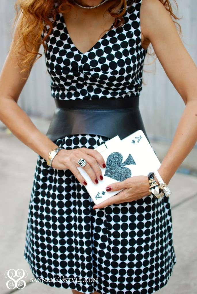 Urania Gazelli ace of spades clutch deck of cards clutch ceramic clutch whimsy clutch polka dots dress new BR style the New BR houston fashion blogger sannamandstyle