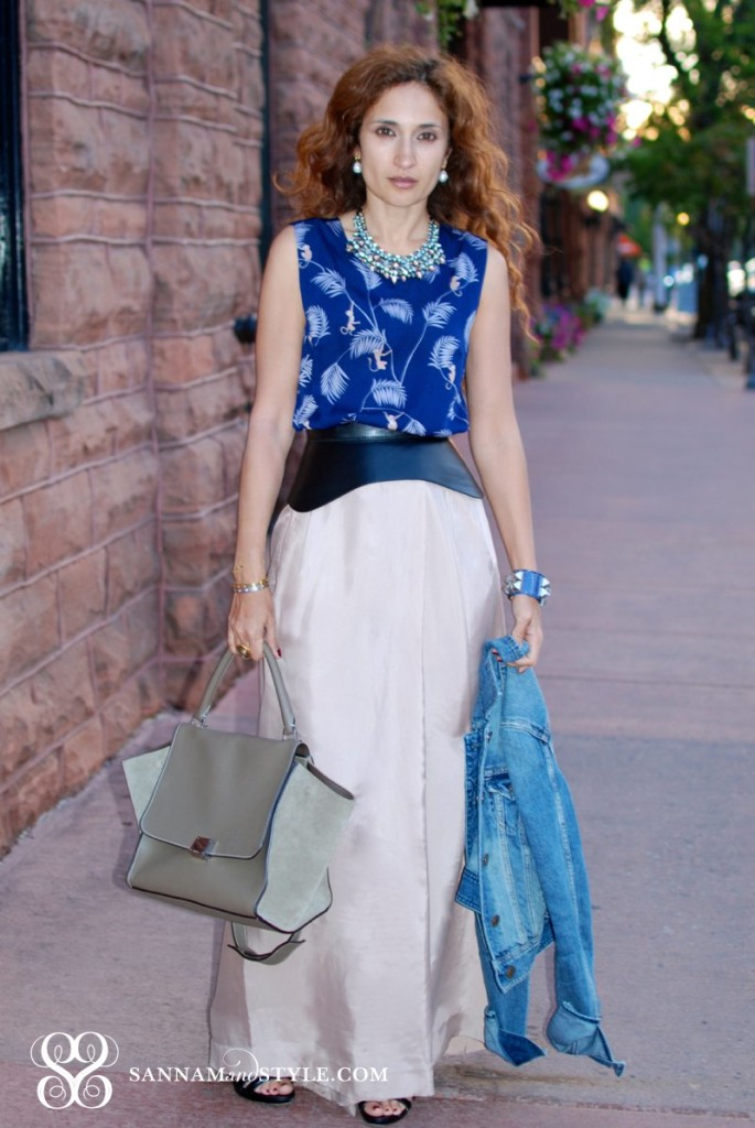 Piamita monkey top reiss wide leg pants bcbg corset belt american eagle denim jacket stelladot style kahlo necklace street style houston fashion blogger