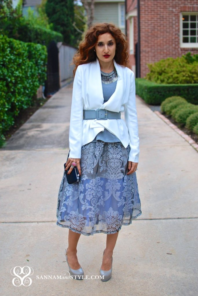 Floral Midi skirt JOA peperlime midi skirt peplum top created with layers how to create an hourglass figure with a belt gray and white outfit feminine flirty outfit sannam and style fashion blogger street style fall trends holiday party outfit ideas