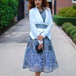 Perfect for Daytime Party – Floral Organza Midi Skirt