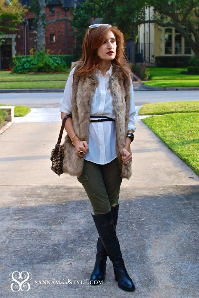 Zara Faux ur Vest how to style faux fur for fall green cargo pants fend leopard baguette double wrap dvd belt equipment top