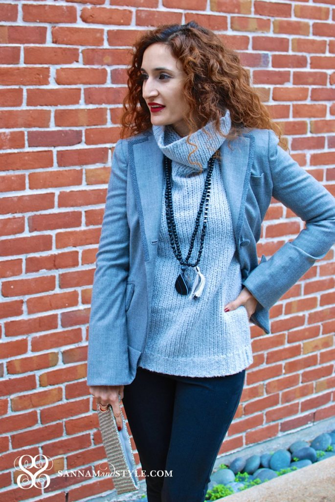 the new BR banana republic sweater banana republic sale chic gray outfit faux suede skinnies monochromatic outfit sannam and style houston fashion blogger
