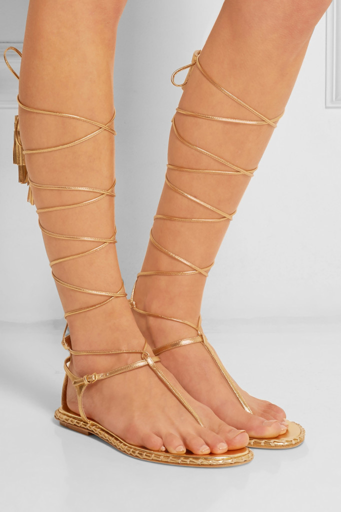 miu miu lace up leather sandals gladiator flat shoes gold shoes tuesdayshoesday shoes day sexy shoes
